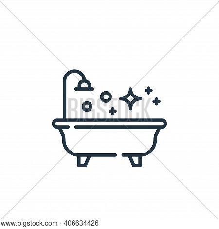 bathtub icon isolated on white background from hygiene routine collection. bathtub icon thin line ou