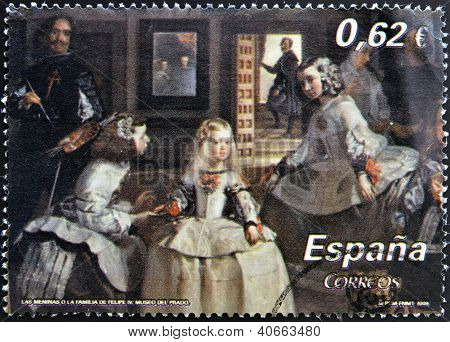 SPAIN - CIRCA 2009: A stamp printed in Spain shows Las Meninas by Velazquez circa 2009