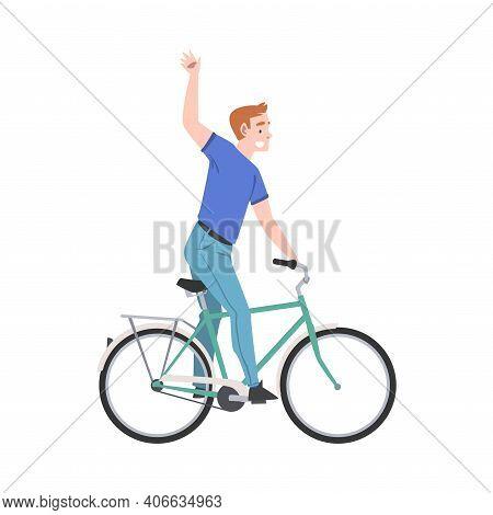 Joyous Man Riding Bicycle And Waving Hand Enjoying Vacation Or Weekend Activity Vector Illustration