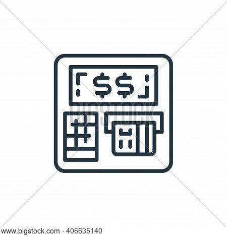 atm machine icon isolated on white background from money and currency collection. atm machine icon t