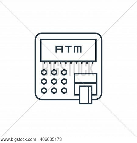 atm icon isolated on white background from online shopping collection. atm icon thin line outline li
