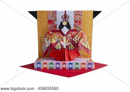 Origami Shaped Of Hina Doll (japanese Traditional Doll) To Celebrate Girl's Growth.
