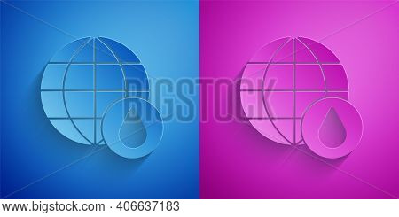 Paper Cut Earth Planet In Water Drop Icon Isolated On Blue And Purple Background. World Globe. Savin
