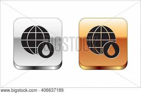 Black Earth Planet In Water Drop Icon Isolated On White Background. World Globe. Saving Water And Wo