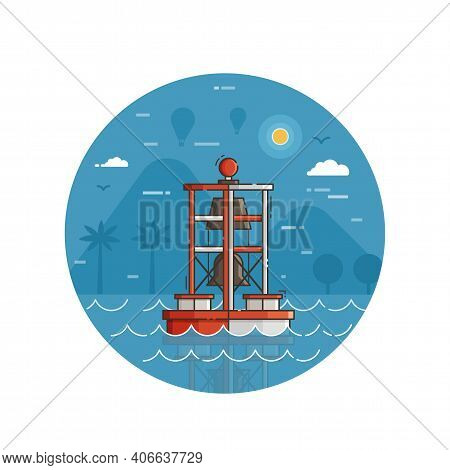 Red Bell Buoy Seaside Icon In Line Art