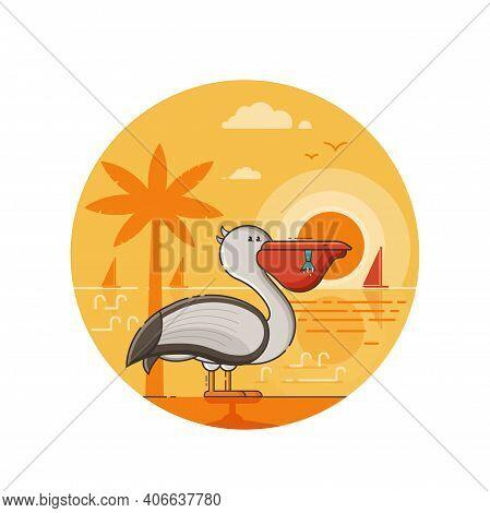 Summer Pelican Seaside Icon In Line Art