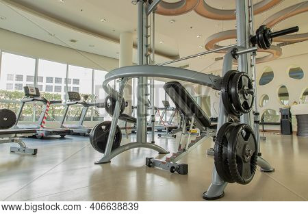 Bangkok, Thailand - Jan 28, 2021 : Within Gym Or Fitness Studio With Modern Fitness Equipment For Fi