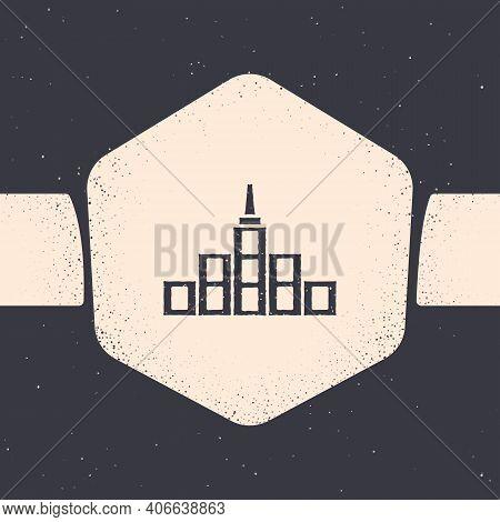 Grunge City Landscape Icon Isolated On Grey Background. Metropolis Architecture Panoramic Landscape.