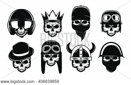 Different Black Skulls In Bandana, Hat Or Helmet Flat Icon Set. Bikers Rock Symbols For Tattoo Or Mo