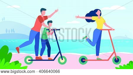 Family Enjoying Activities At Seaside. Parents And Kid Riding Scooter By Sea Flat Vector Illustratio