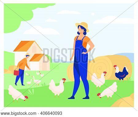Farmers Working On Chicken Farm Isolated Flat Vector Illustration. Cartoon Woman And Man Breeding Po