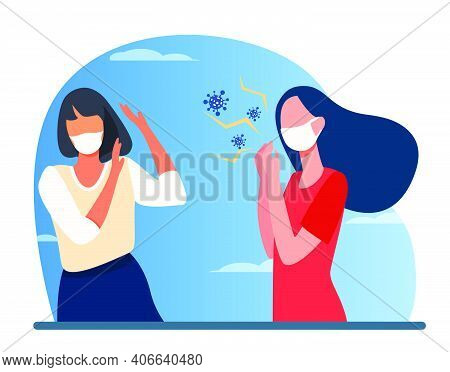 Infected Woman In Mask Coughing. Virus Spread, Social Distance Violation Flat Vector Illustration. C