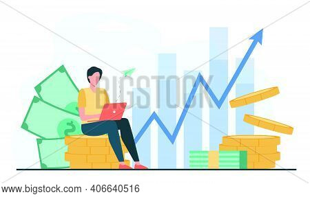Investor With Laptop Monitoring Growth Of Dividends. Trader Sitting On Stack Of Money, Investing Cap