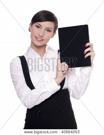 Woman with touchscreen tablet computer