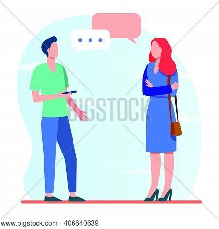 Man With Smartphone And Woman Talking Outside. Conversation, Speech Bubble, Asking Destination Flat