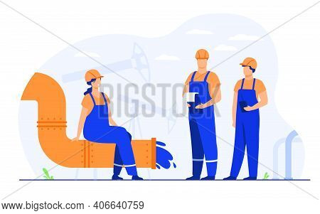 Oilmen And Engineers On Production Line Or Pipe Of Petroleum Refinery Flat Vector Illustration. Cart