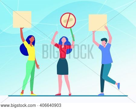 People Holding Protest Placards. Meeting, Protesters, Activists Flat Vector Illustration. Politics,