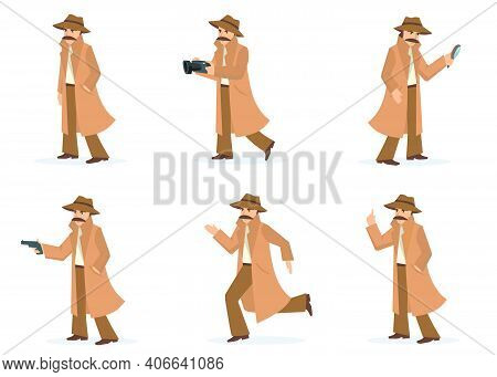 Private Detective Set. Investigator In Different Actions And Poses, Inspector With Moustache Wearing