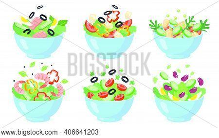 Salad Bowls Set. Cut Green Vegetables With Eggs, Olives, Cheese, Beans, Shrimps. Vector Illustration