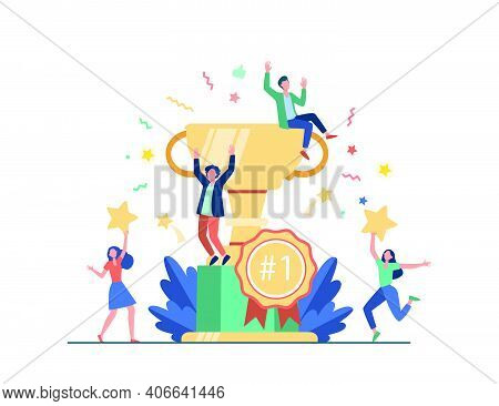 Team Of Happy Employees Winning Award And Celebrating Success. Business People Enjoying Victory, Get