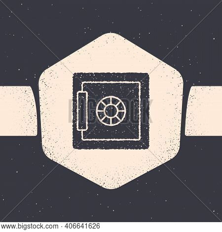 Grunge Safe Icon Isolated On Grey Background. The Door Safe A Bank Vault With A Combination Lock. Re