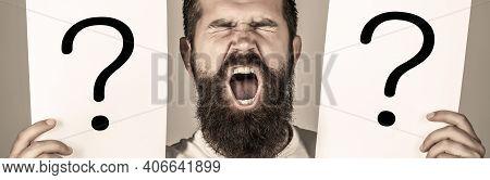 Question Mark, Symbol. Man Screaming, Emotion. Man Question. Male With Emotion Scream, Question Mark