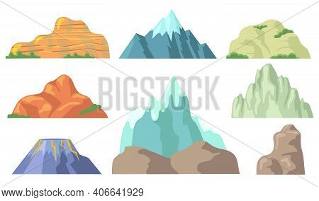 Various Mountain Peaks Flat Icon Set. Cartoon Shapes Of Rocky Hill, Snowy Promontory Top, Rock, Volc