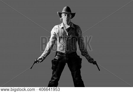 Man Wearing Cowboy Hat, Gun. West, Guns. American Bandit In Mask, Western Man With Hat. Portrait Of