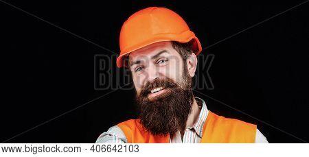 Man Builders, Industry. Builder In Hard Hat, Foreman Or Repairman In The Helmet. Bearded Man Worker
