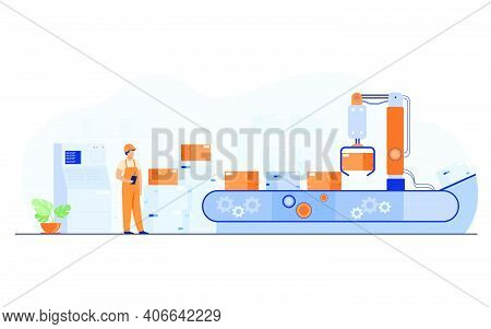 Worker Watching Conveyor With Boxes Isolated Flat Vector Illustration. Cartoon Man Standing In Wareh
