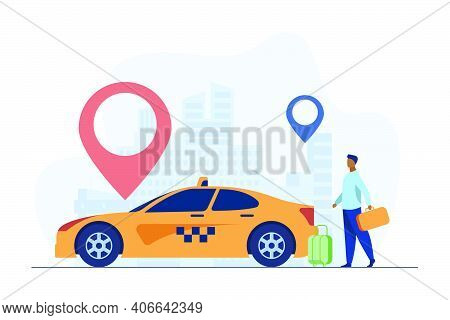 Young Guy Travelling By Taxi Around City. Marker, Destination, Baggage Flat Vector Illustration. Tra