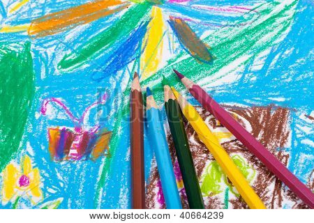 Several Colored Pencils On Children Draw