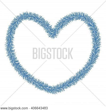 A Heart. Plush Love Symbol Made Of Tinsel. Colored Vector Illustration. Isolated White Background. V