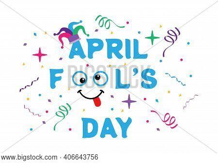 Celebration Happy April Fool's Day Wearing A Jester Hat Background Design. Vector Illustration.