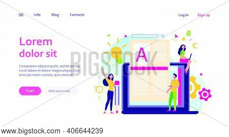 Content Author Or Writer Job Concept. Freelance Blogger At Laptop Writing Creative Article, Editing