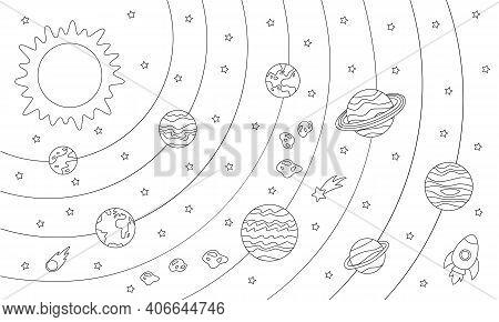 Color Solar System Scheme. Coloring Sheet For Kids.