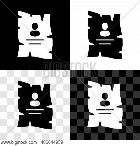 Set Wanted Western Poster Icon Isolated On Black And White, Transparent Background. Reward Money. De