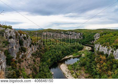 River In The Beautiful Ardeche Gorge Near Casteljau In France. Blue River In Europe. Touristic Lands