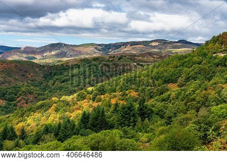 View Over The Valley And Mountains In Gourgon, Ardeche In Southern France