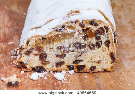 Stollen Cake With Dried Fruits And Marzipan