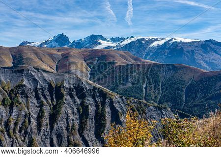 View Of The Mountains Around Alpe D'huez In The French Alps, France Europe