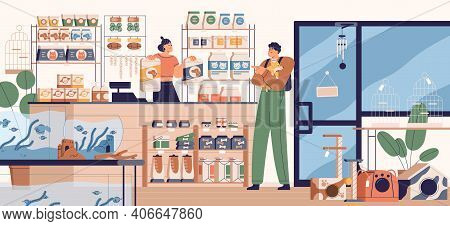 People In Pet Store Buying Food For Dog. Buyer And Seller Inside Zoo Shop With Toys, Feed And Other