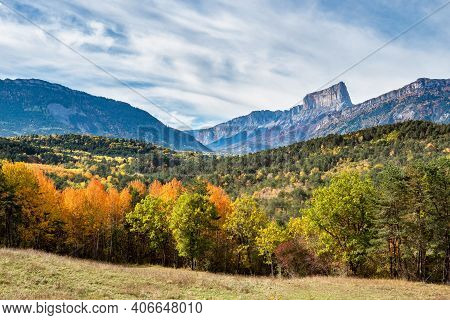 French Countryside. Clelles: View Of The Heights Of The Vercors, The Marly Hills And The Valley Val