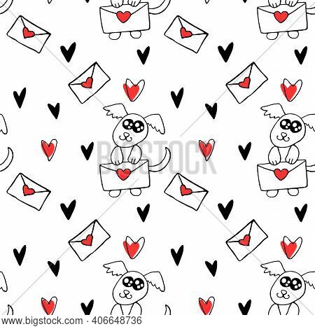 Vector Seamless Pattern. Cute Contour Little Dog With Love Letter And Hearts. Hand Drawn Doodle. Bac