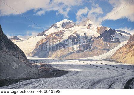 Aletsch Glacier. Largest Longest Glacier Euopra, Valais Switzerland. Panoramic Of The Jungfrau. Alet
