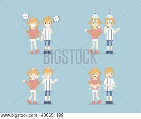Collection Set Of Boy And Girl Having Stomach Ache, Toothache, Coughing Sneezing, Having A Cold, Fev