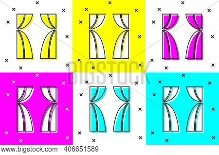 Set Circus Curtain Raises Icon Isolated On Color Background. For Theater Or Opera Scene Backdrop, Co