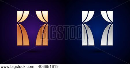 Gold And Silver Circus Curtain Raises Icon Isolated On Black Background. For Theater Or Opera Scene