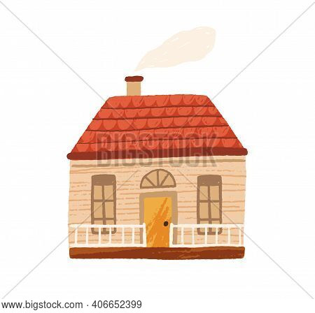 Cute Little Country House With Door, Windows And Terrace. Facade Of Home With Chimney And Smoke. Woo