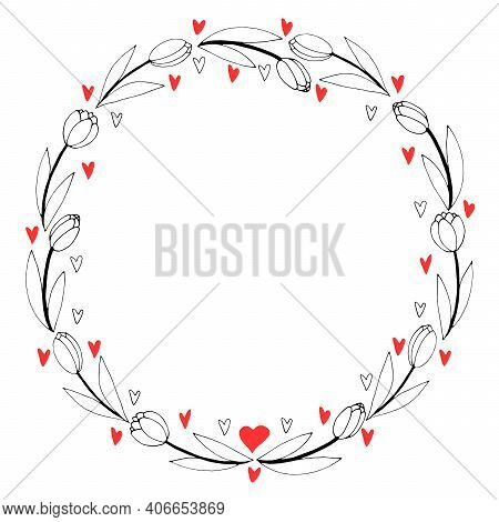Vector Round Frame, Wreath From Outline Tulips And Hearts. Spring Flowers. Hand Drawn Doodle Isolate